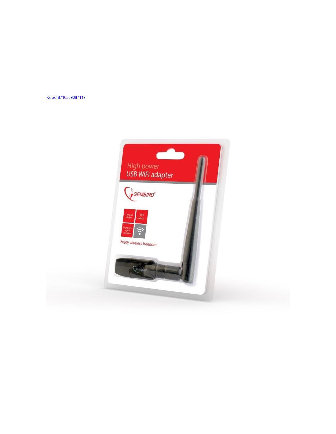 WiFi USB Adapter Gembird with antenna, 300Mbps
