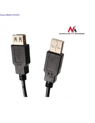 USB20 pikenduskaabel Maclean AM to AF 3m must 1234