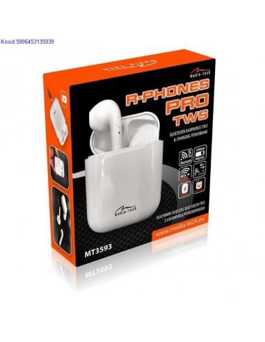Bluetooth krvaklapid mikrofoniga MediaTech RPhones Pro TWS MT3593 valged 1237