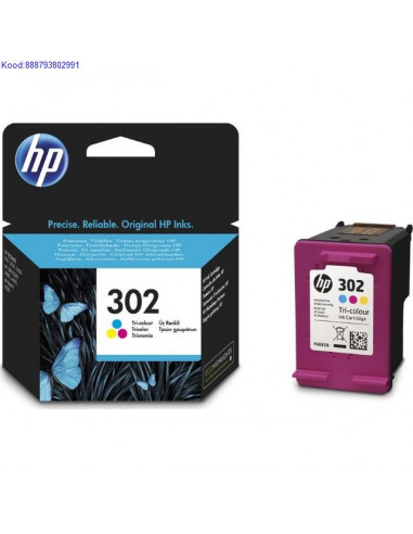 Tindikassett HP 302 Colour (Originaal)