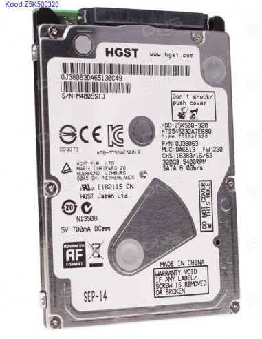 Kvaketas 25 HGST Z5K500320 320GB SATA II kasutatud 1729