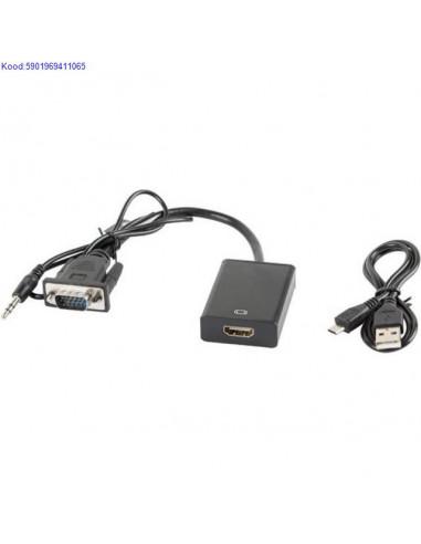 VGA M  35mm audio to HDMI F adapter Lanberg 20cm 1843