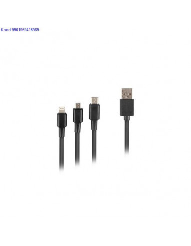 USBA to USBC Micro USB Lightning kaabel Lanberg 18 m 1868