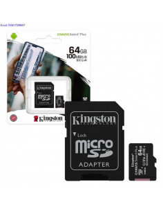Mlukaart SDHC 64GB Kingston Canvas Select Plus  adapter Class10 2174