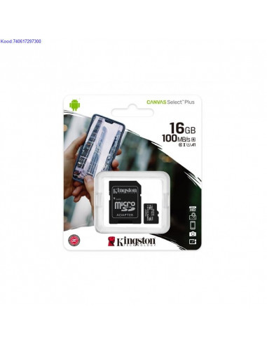 Mlukaart SDHC 16GB Kingston Canvas Select Plus  adapter Class10 2492