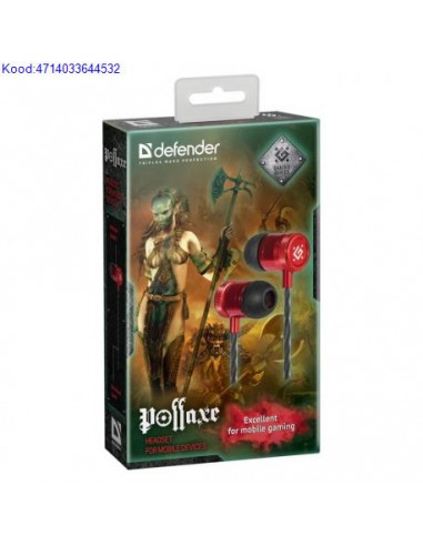 Krvaklapid mikrofoniga Defender Pollaxe must  punane 2610