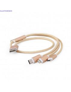 USB 3in1 laadimiskaabel 1 m Cablexpert CCUSB2AM311MG  kuldne 2711