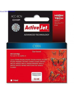 Tindikassett ActiveJet Canon CLI8C Cyan Analoog 532