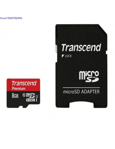 122bf86049f Mälukaart Micro SDHC 8GB Transcend Premium + adapter Class10