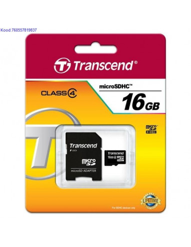 Mlukaart Micro SDHC 16GB Trancend  adapter Class4 598