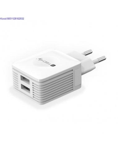 USB laadija vooluvõrgust 2 porti 220V...