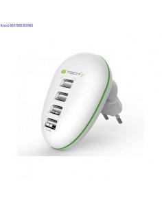 USB laadija vooluvrgust 4 porti 220V Techly 5V 25A 774